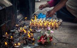 Ritual near Hindu temple in Nepal Royalty Free Stock Image