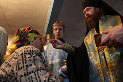 Ritual in the orthodox church. Russia. Tomsk. Rostislav - Archbishop of Tomsk and Asino, commits the ceremony ritual in the orthodox church Stock Image