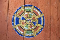 Ritual symbol at the Jakar Dzong, Jakar, Bhutan Stock Photos