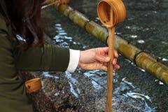 A ritual to purify the pilgrim. In Japanese, it`s called. `Temizuya` or `Chozuya`. Taken in Fukuoka, Japan, February 2018 royalty free stock images