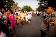 Rituel de Melasti sur l'île de Bali Photographie stock libre de droits