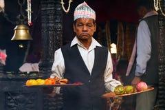 Rituel de sacrifice de chèvre au Népal Image libre de droits