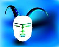 Rituell antikvitet för Horned maskering i den afrikanska stilen Guld- Horns royaltyfri illustrationer