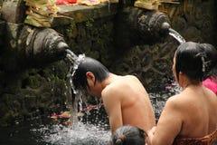 Rituell badningceremoni på Tampak som varar far till, Bali Indonesien Arkivbild