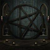 Rituellt utrymme med Pentagram vektor illustrationer