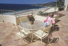 Ritz Carlton Hotel. Lounging outside, Ritz Carlton Hotel, Laguna Niguel, CA Stock Photo