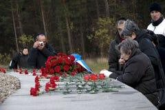 Riunione commemorativa nel precedente campo Sobibor di sterminio Fotografia Stock