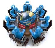 Riunione d'affari - accesso Internet Concetto online del collegamento Fotografie Stock