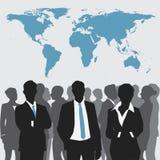 Riunione d'affari con la mappa di mondo Immagine Stock