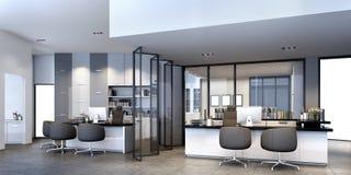 riunione d'affari della rappresentazione 3d e stanza di funzionamento sull'edificio per uffici royalty illustrazione gratis