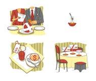 Riunione d'affari nel ristorante Pranzo di affari situazioni etiquette Colloqui per pranzo Illustrazione del quadro televisivo illustrazione di stock