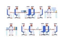 Riunione d'affari posture mentre si siedono Sau arabo royalty illustrazione gratis