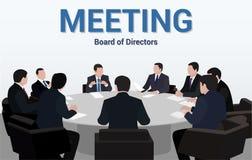 Riunione d'affari Un gruppo di uomini d'affari sta negoziando per una tavola rotonda immagine stock
