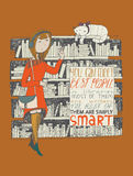 Riunione del gatto e della ragazza in una biblioteca Immagine Stock Libera da Diritti