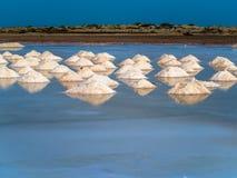 Riunione del sale negli stagni di evaporazione Fotografie Stock
