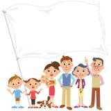 Riunione della famiglia che ha una bandiera Immagine Stock