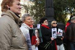 Riunione della memoria di Anna Politkovskaya Fotografia Stock