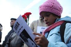 Riunione della memoria di Anna Politkovskaya Fotografie Stock Libere da Diritti