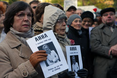 Riunione della memoria di Anna Politkovskaya Immagini Stock