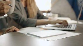 Riunione di 'brainstorming' di conferenza della donna di affari e del suo lavoratore di finanza in vestiti moderni stock footage