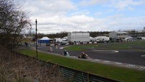 Riunione di corsa del club SYKC di South Yorkshire Kart il 12 marzo 2017 video d archivio