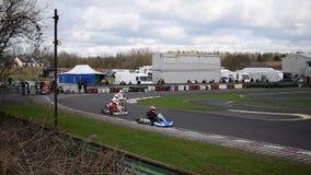 Riunione di corsa del club SYKC di South Yorkshire Kart il 12 marzo 2017 stock footage