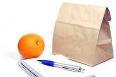 Riunione di pranzo del sacchetto del Brown Fotografia Stock