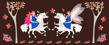 Riunione nella foresta di autunno di due amazzoni leggiadramente sugli unicorni royalty illustrazione gratis