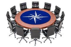 Riunione politica globale del concetto di alleanza, rappresentazione 3D illustrazione di stock