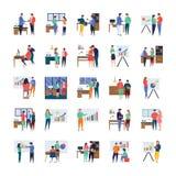 Riunioni d'affari, discussioni, lavoro in corso, insieme piano delle illustrazioni royalty illustrazione gratis