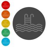 Riunisca l'icona di vettore, piscina con l'icona della scala royalty illustrazione gratis