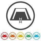 Riunisca l'icona, piscina con l'icona della scala, 6 colori inclusi royalty illustrazione gratis