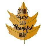 Riunisca qui con cuore riconoscente - frase disegnata a mano dell'iscrizione di festa di ringraziamento di stagioni di autunno is royalty illustrazione gratis
