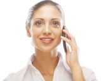 Riuscita donna di affari con il telefono cellulare Immagine Stock