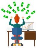 Riuscita donna di affari con soldi Fotografia Stock