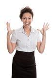 Riuscita donna di affari - saltando per la gioia isolata sulle sedere bianche Immagini Stock