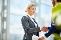 Riuscita donna di affari Shaking Hands con il partner Immagine Stock Libera da Diritti