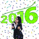 Riuscita donna felice con i numeri 2016 Fotografie Stock Libere da Diritti