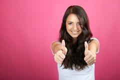 Riuscita donna sorridente Fotografia Stock