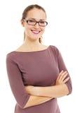 Riuscita donna sorridente di affari in vetri Fotografia Stock Libera da Diritti