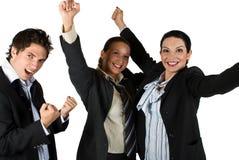 Riuscita gente emozionante con la vittoria nel commercio immagine stock libera da diritti