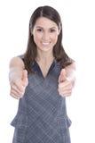 Riuscita giovane donna con i pollici su - isolato su bianco Immagini Stock Libere da Diritti