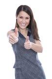 Riuscita giovane donna con i pollici su - isolato su bianco Immagini Stock