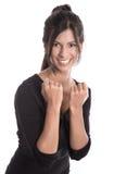 Riuscita giovane donna di affari che sorride in un vestito nero Fotografie Stock