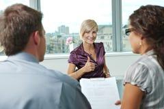 Riuscita intervista di job Immagini Stock