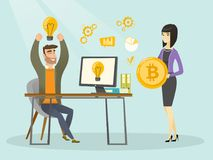 Riuscita promozione di nuova partenza di cryptocurrency illustrazione vettoriale
