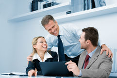 Riuscita riunione d'affari felice Fotografie Stock Libere da Diritti