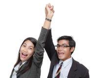 Riuscita squadra incoraggiante di affari Immagini Stock Libere da Diritti
