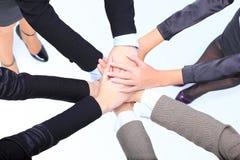 Riuscite donne di affari con il loro togethe delle mani Fotografia Stock Libera da Diritti