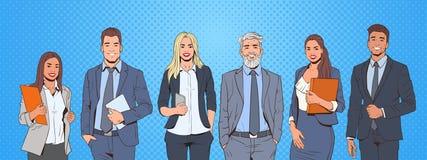 Riusciti uomo e donna di affari sopra il gruppo delle persone di affari di Art Colorful Retro Style Background di schiocco illustrazione vettoriale